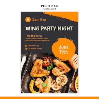 Plantilla de cartel de restaurante de comida