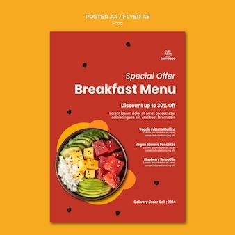 Plantilla de cartel para restaurante con plato de comida sana