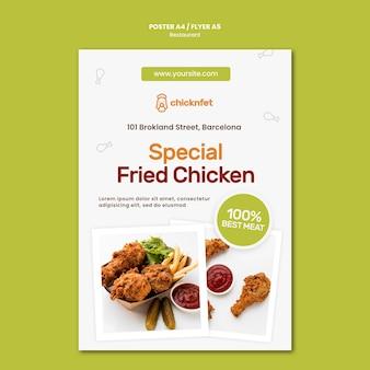 Plantilla de cartel para restaurante de plato de pollo frito