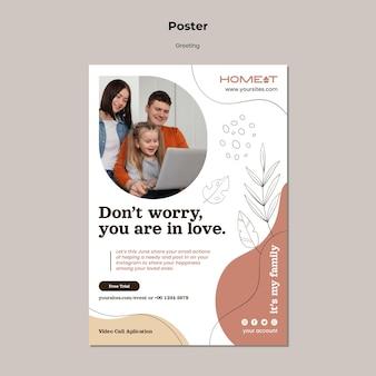 Plantilla de cartel de saludo familiar