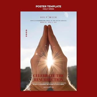 Plantilla de cartel de semana santa con foto