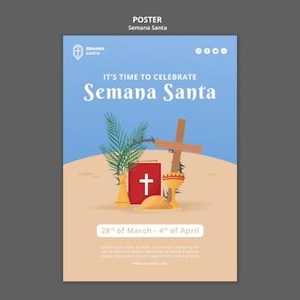 Plantilla de cartel de semana santa ilustrada