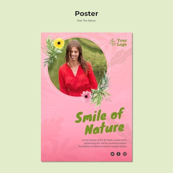 Plantilla de cartel de sonrisa de la naturaleza