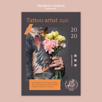 Plantilla de cartel para tatuador