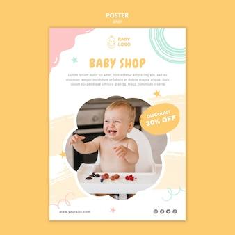 Plantilla de cartel de tienda de bebé con descuento