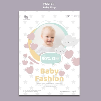 Plantilla de cartel de tienda de bebé