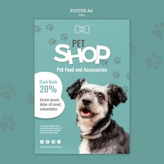 Plantilla de cartel de tienda de mascotas con foto de perro