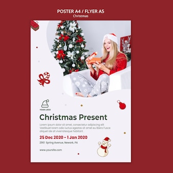 Plantilla de cartel de tienda de regalos de navidad