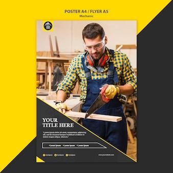 Plantilla de cartel de trabajador manual de carpintero
