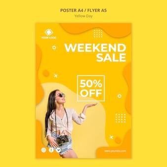 Plantilla de cartel de venta de fin de semana de día amarillo
