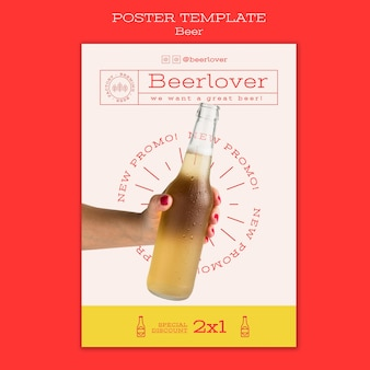 Plantilla de cartel vertical para amantes de la cerveza