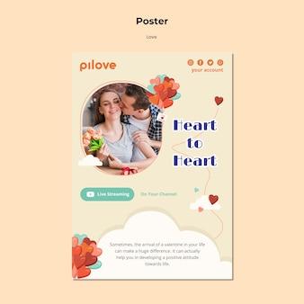 Plantilla de cartel vertical para el amor con pareja romántica y corazones.