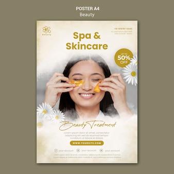 Plantilla de cartel vertical para belleza y spa con flores de manzanilla y mujer