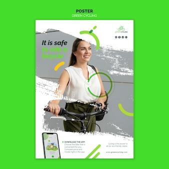 Plantilla de cartel vertical para bicicleta verde