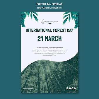 Plantilla de cartel vertical para la celebración del día internacional del bosque