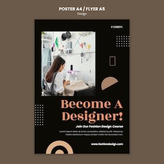 Plantilla de cartel vertical para diseñador de moda