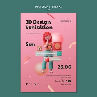 Plantilla de cartel vertical para diseño 3d con mujer