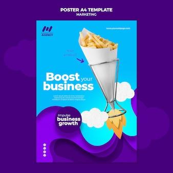 Plantilla de cartel vertical para empresa de marketing con producto.