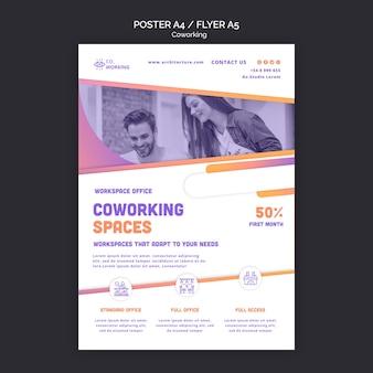 Plantilla de cartel vertical para espacio de coworking