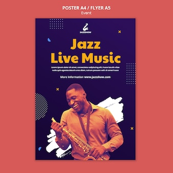 Plantilla de cartel vertical para evento de música jazz.