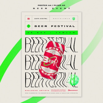 Plantilla de cartel vertical para festival de la cerveza