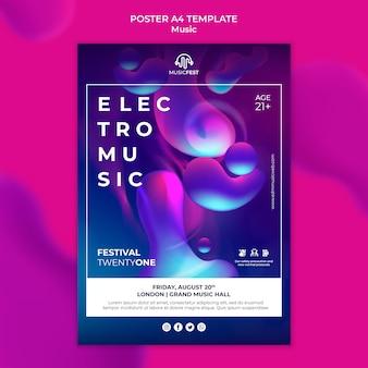 Plantilla de cartel vertical para festival de música electro con formas de efecto líquido neón