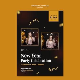 Plantilla de cartel vertical para fiesta de año nuevo con mujer y confeti