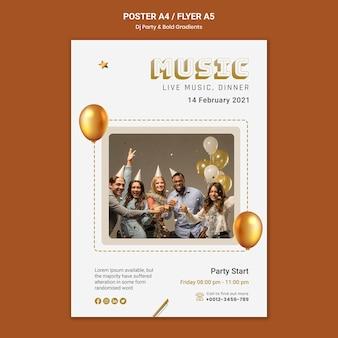 Plantilla de cartel vertical para fiesta de dj con personas y globos