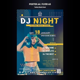 Plantilla de cartel vertical para fiesta nocturna de música techno