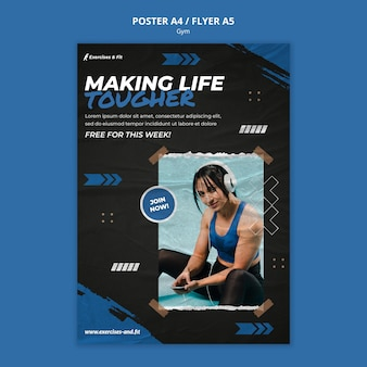 Plantilla de cartel vertical para gimnasio con atleta femenina