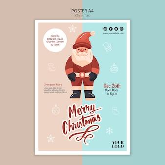 Plantilla de cartel vertical para navidad con santa claus
