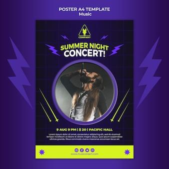 Plantilla de cartel vertical de neón para concierto nocturno de verano