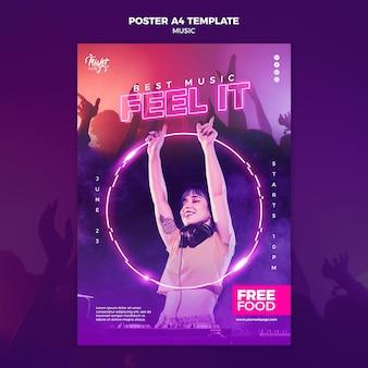 Plantilla de cartel vertical de neón para música electrónica con dj femenina