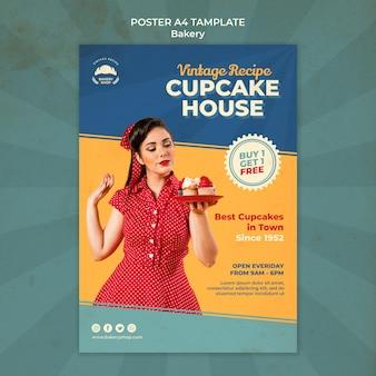 Plantilla de cartel vertical para panadería vintage con mujer