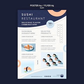 Plantilla de cartel vertical para restaurante de sushi