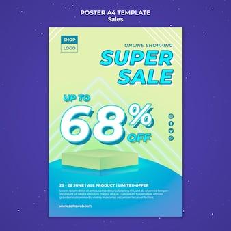 Plantilla de cartel vertical para super venta
