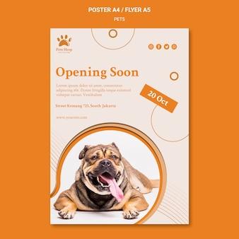 Plantilla de cartel vertical para tienda de mascotas con perro