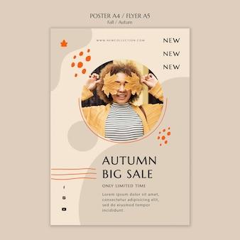 Plantilla de cartel vertical para la venta de otoño