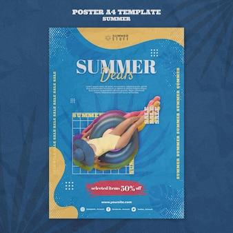 Plantilla de cartel vertical para venta de verano con mujer.