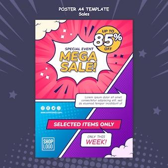 Plantilla de cartel vertical para ventas en estilo cómic
