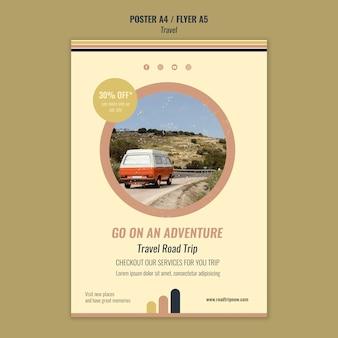 Plantilla de cartel de viaje por carretera de viaje