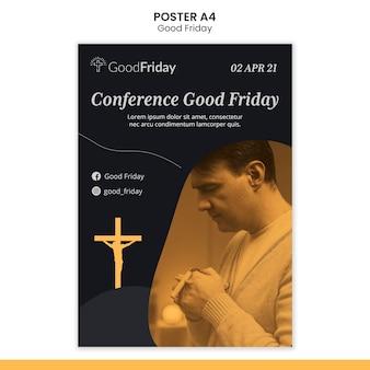 Plantilla de cartel de viernes santo con foto