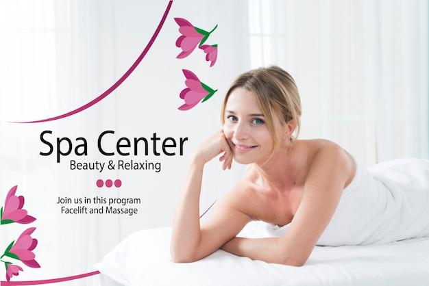 Plantilla de centro de spa con mujer posando