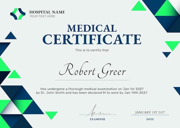 Plantilla de certificado médico psd en diseño abstracto