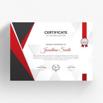 Plantilla de certificado moderno con detalles en rojo
