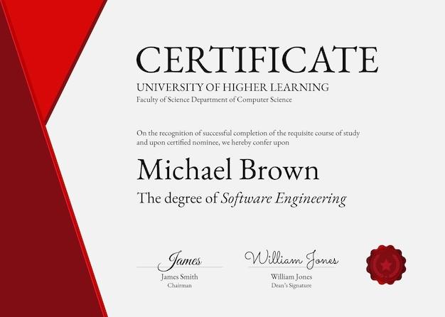 Plantilla de certificado de premio profesional psd en diseño abstracto
