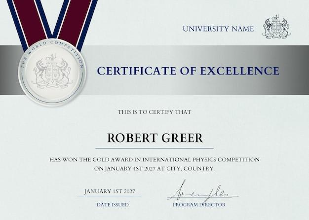 Plantilla de certificado de premio profesional psd en diseño elegante plateado
