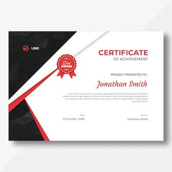 Plantilla de certificado rojo y negro con patrón de polígono
