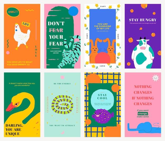 Plantilla de cita motivacional psd para la historia de las redes sociales con un lindo conjunto de ilustraciones de animales