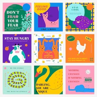 Plantilla de cita motivacional psd para publicación en redes sociales con lindo conjunto de ilustraciones de animales